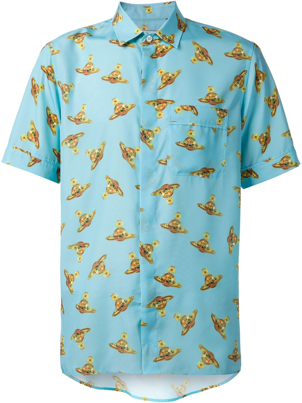 Vivienne westwood 39 time machine 39 printed shirt in blue for for Machine to print shirts