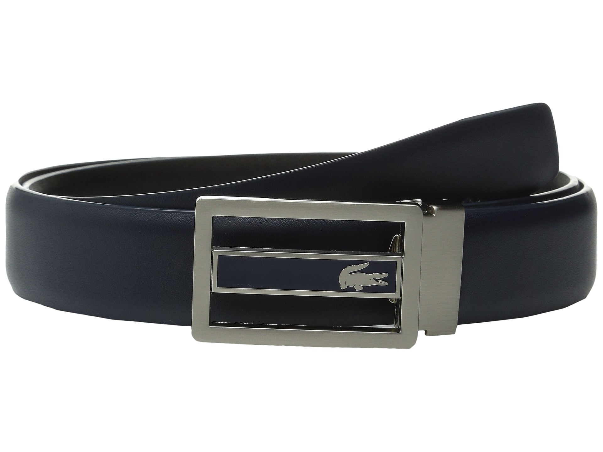 c13addfbe23eea Lyst - Lacoste Premium Leather Metal Croc Cutout Plate Belt in Blue ...
