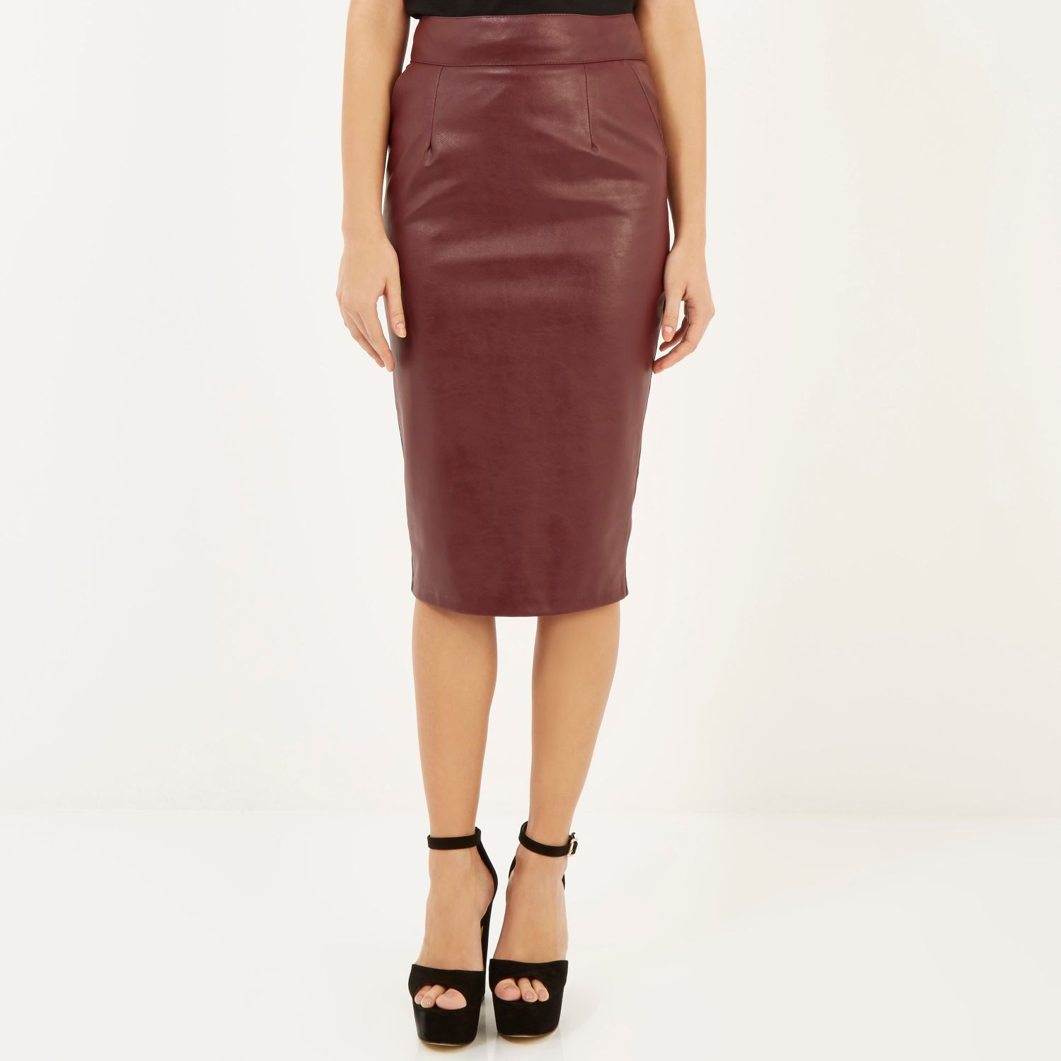 River island dark red leather pencil skirt – Modern skirts blog ...