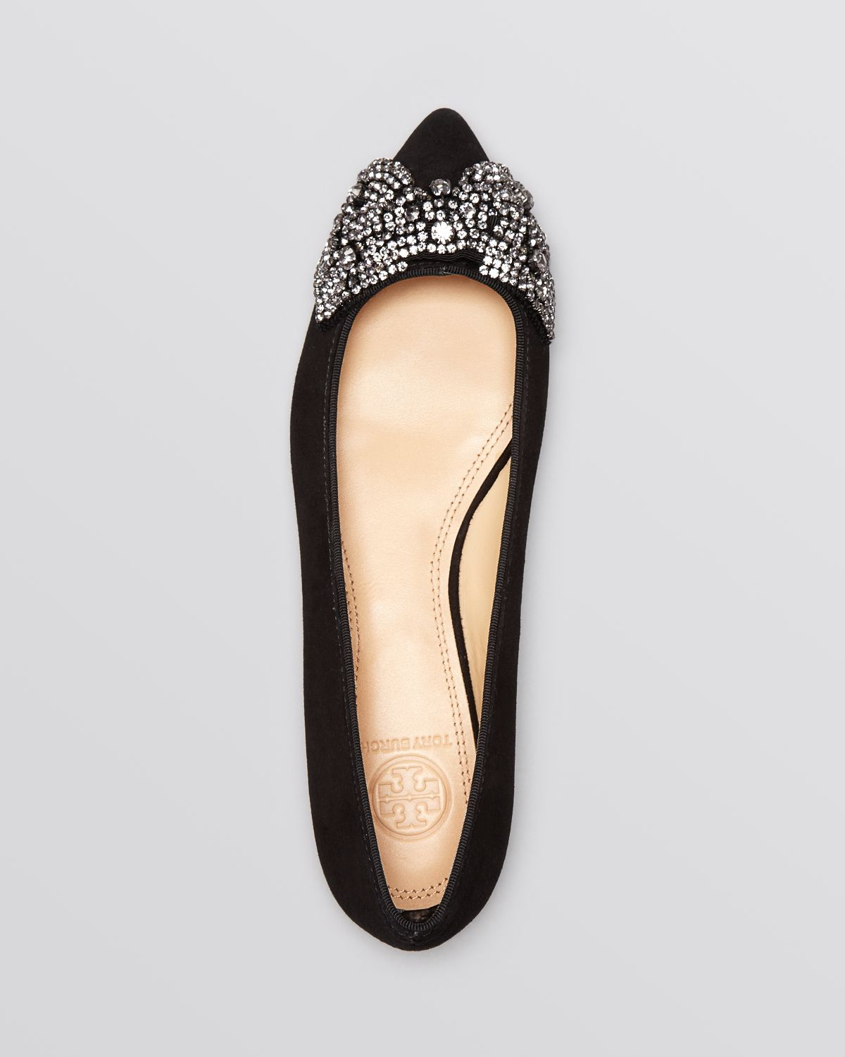 fab9475e896 Lyst - Tory Burch Pointed Toe Flats - Vanessa Crystal Bow in Blue
