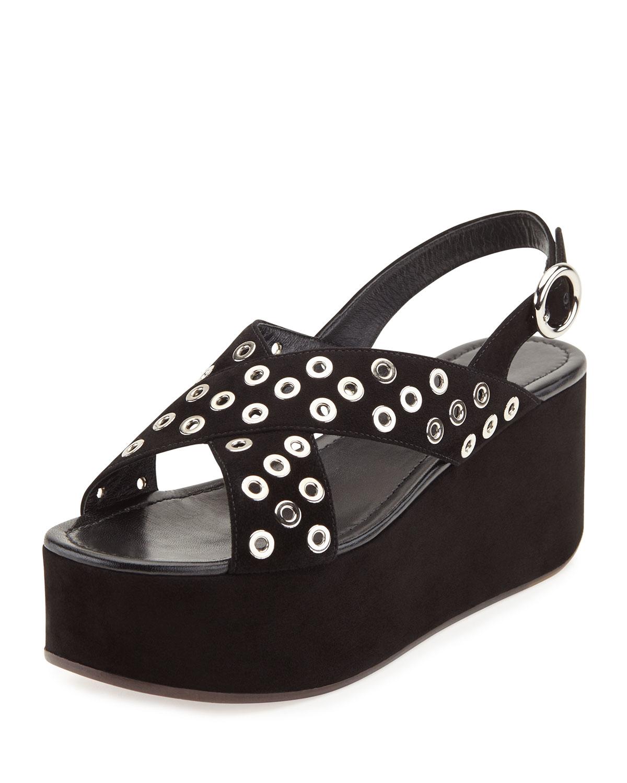 7936c54bebaf Prada Rivet-studded Suede Platform Sandal in Black