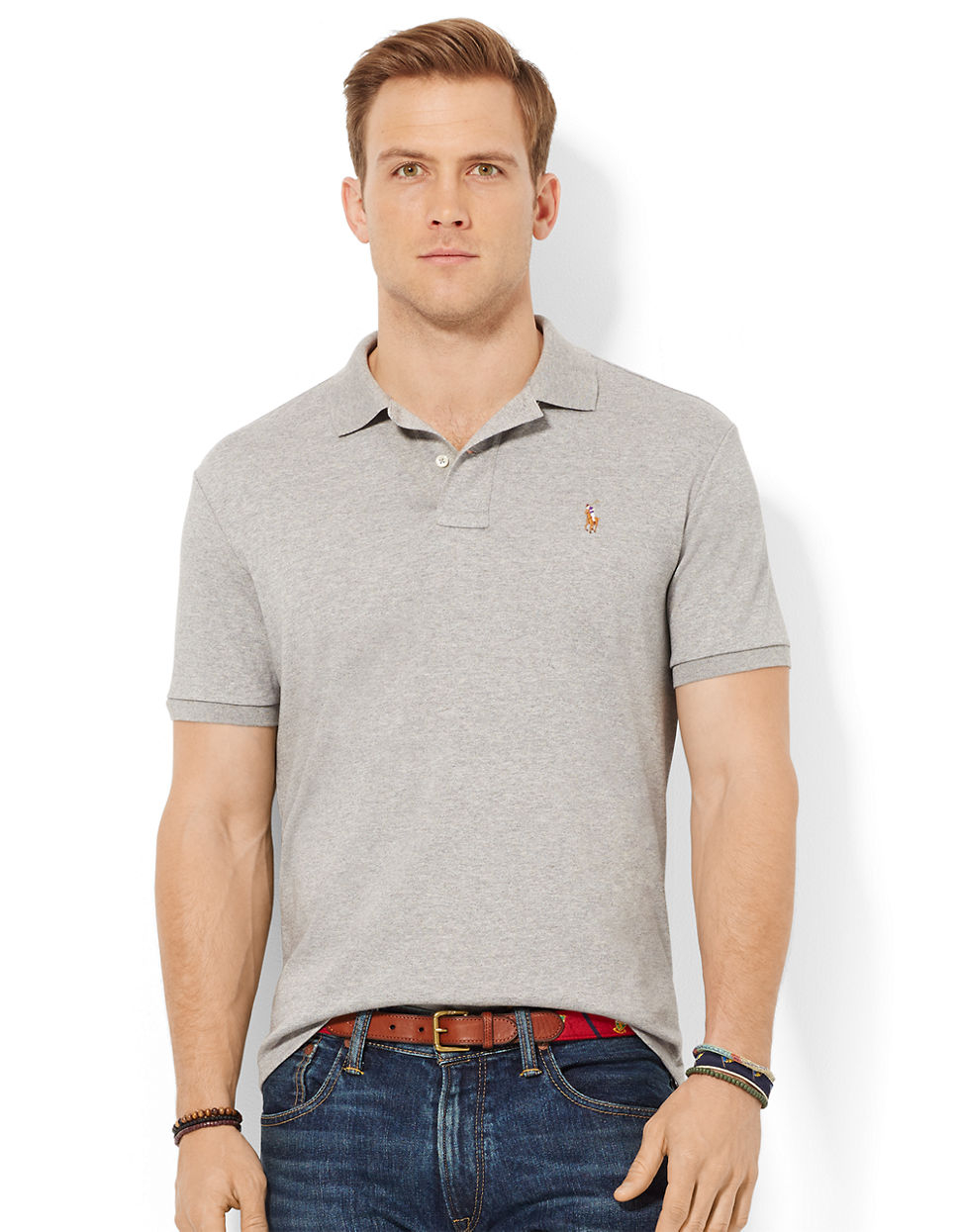 Polo ralph lauren pima soft touch polo shirt in gray for Man in polo shirt