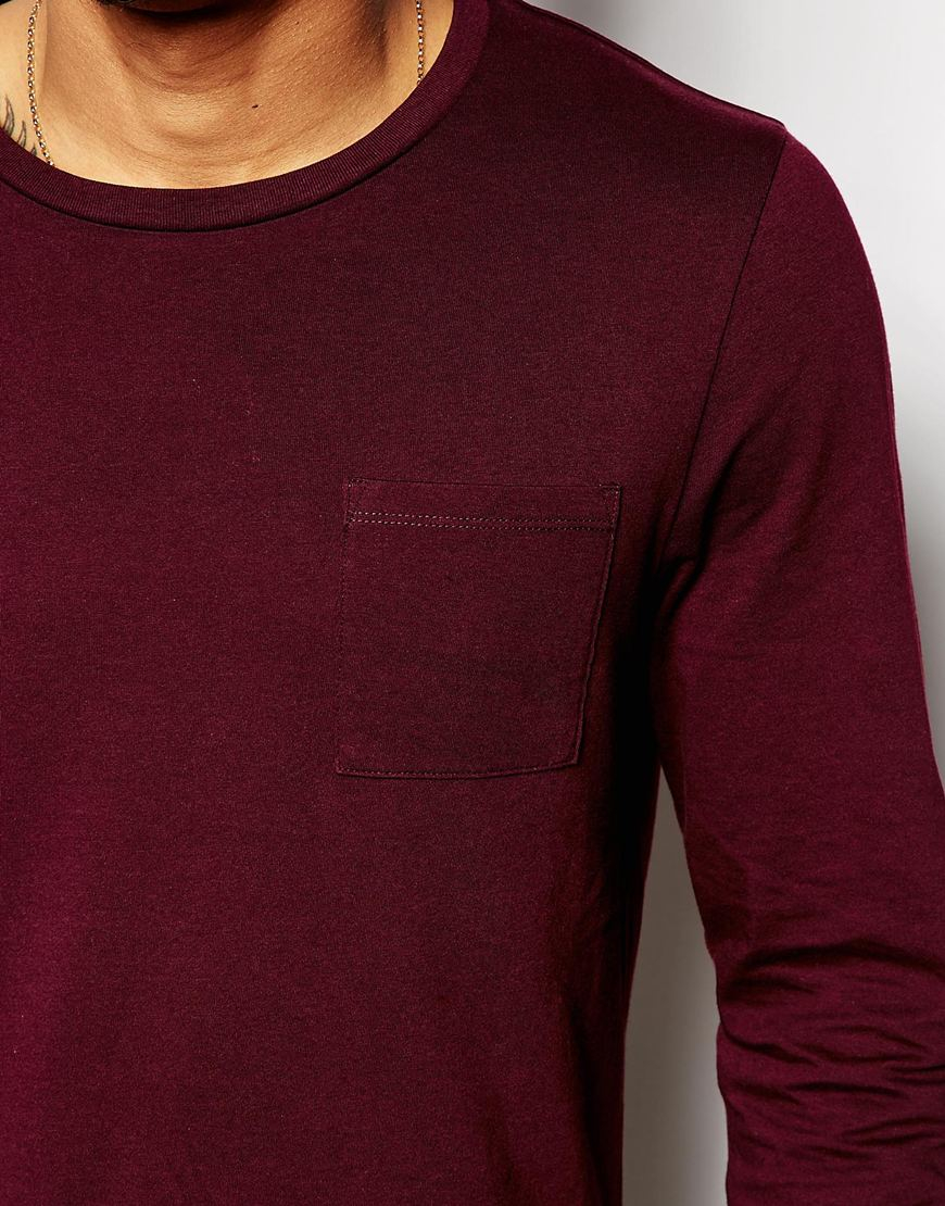 Asos Long Sleeve T-shirt With Pocket in Purple for Men | Lyst