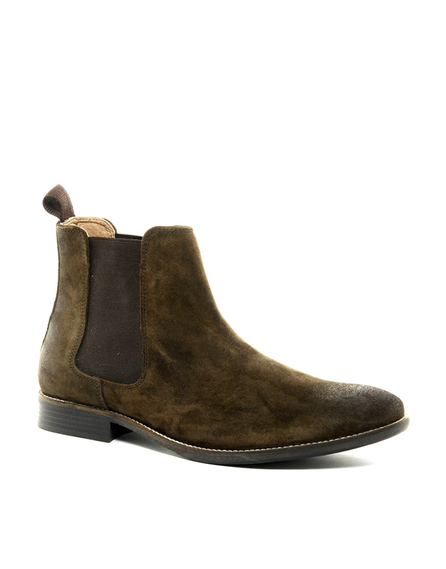 asos chelsea boots in suede in brown for brownsuede