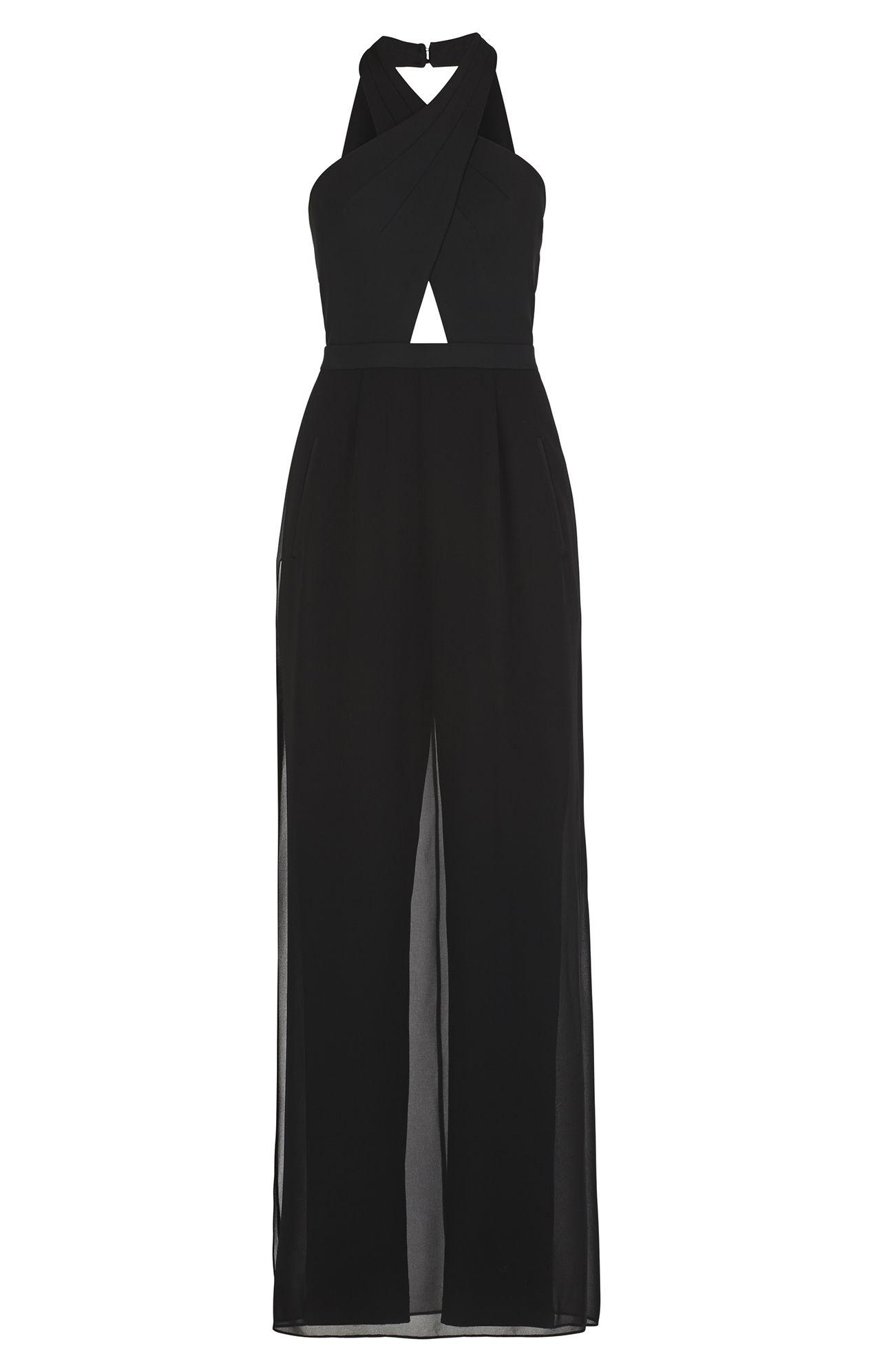 c99a12e32621 Lyst - BCBGMAXAZRIA Josselyn Halter Top Jumpsuit in Black