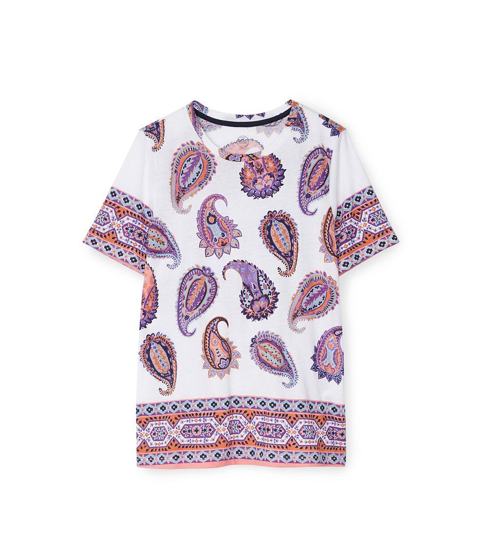 Tory burch printed cotton t shirt lyst for Tory burch t shirt