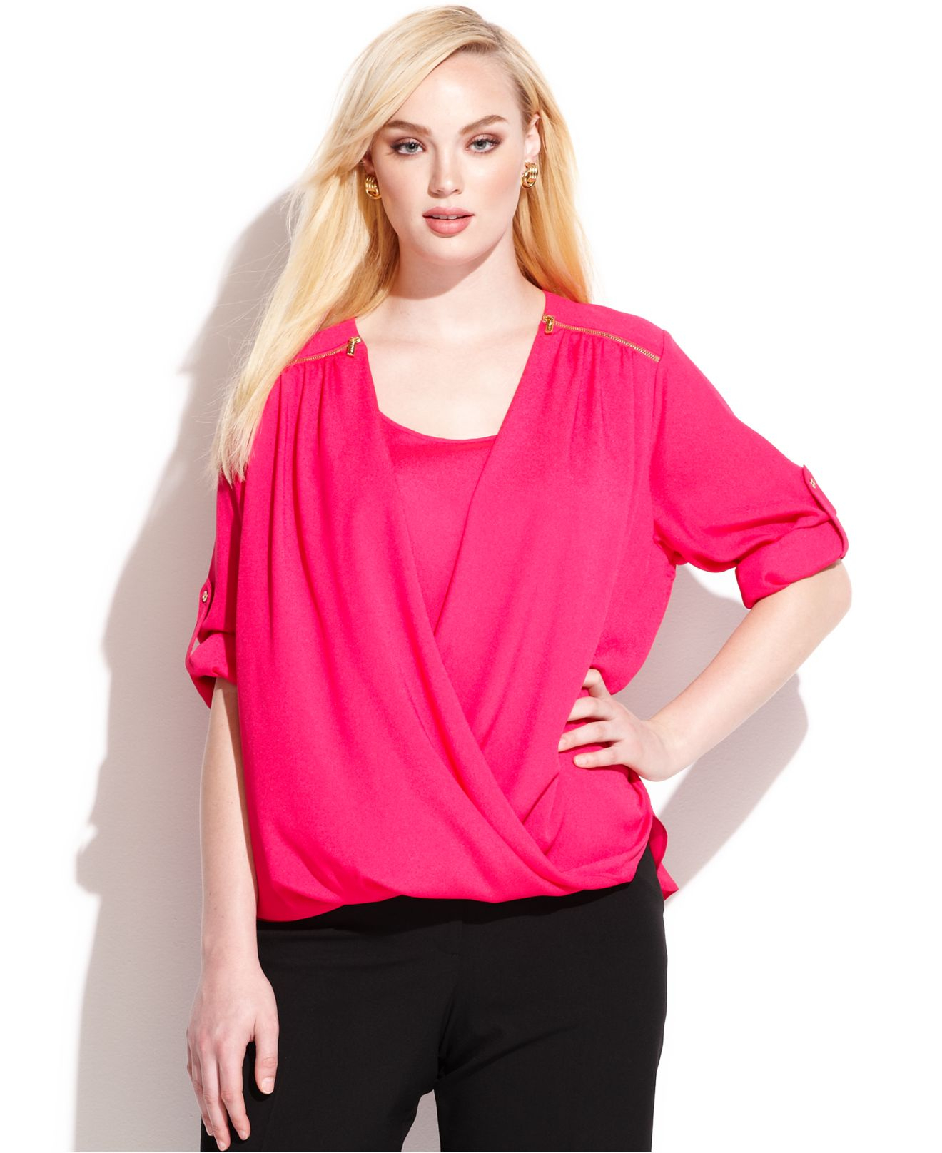 ad8e49b1277 Lyst - Calvin Klein Plus Size Roll-Tab-Sleeve Draped Blouse in Pink
