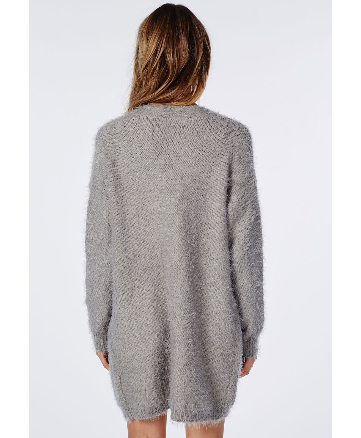 Missguided Ceris Knitted Fluffy Cardigan Grey in Gray | Lyst