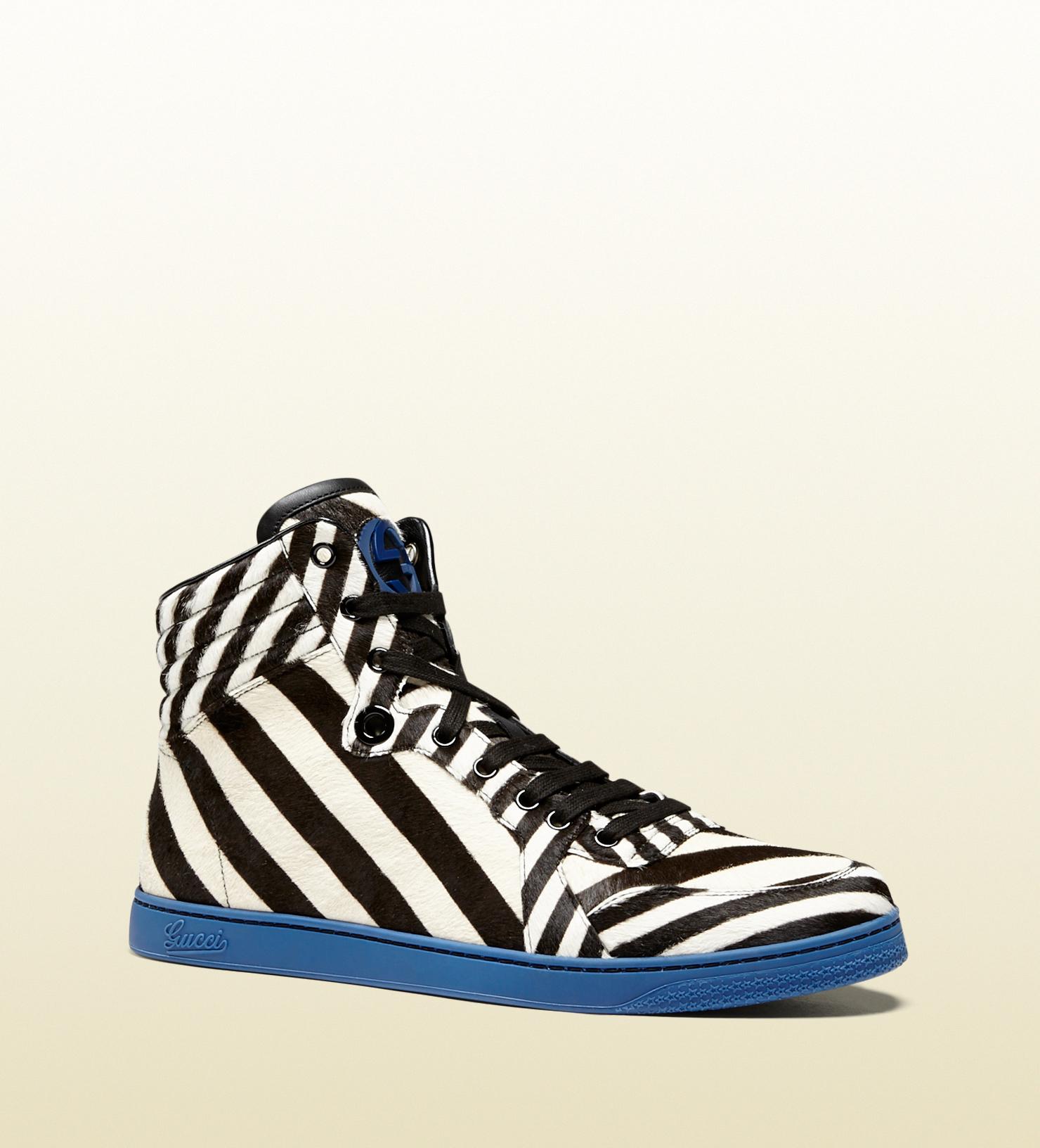 Gucci Zebra Print Calf Hair Hightop Sneaker in Black for Men   Lyst