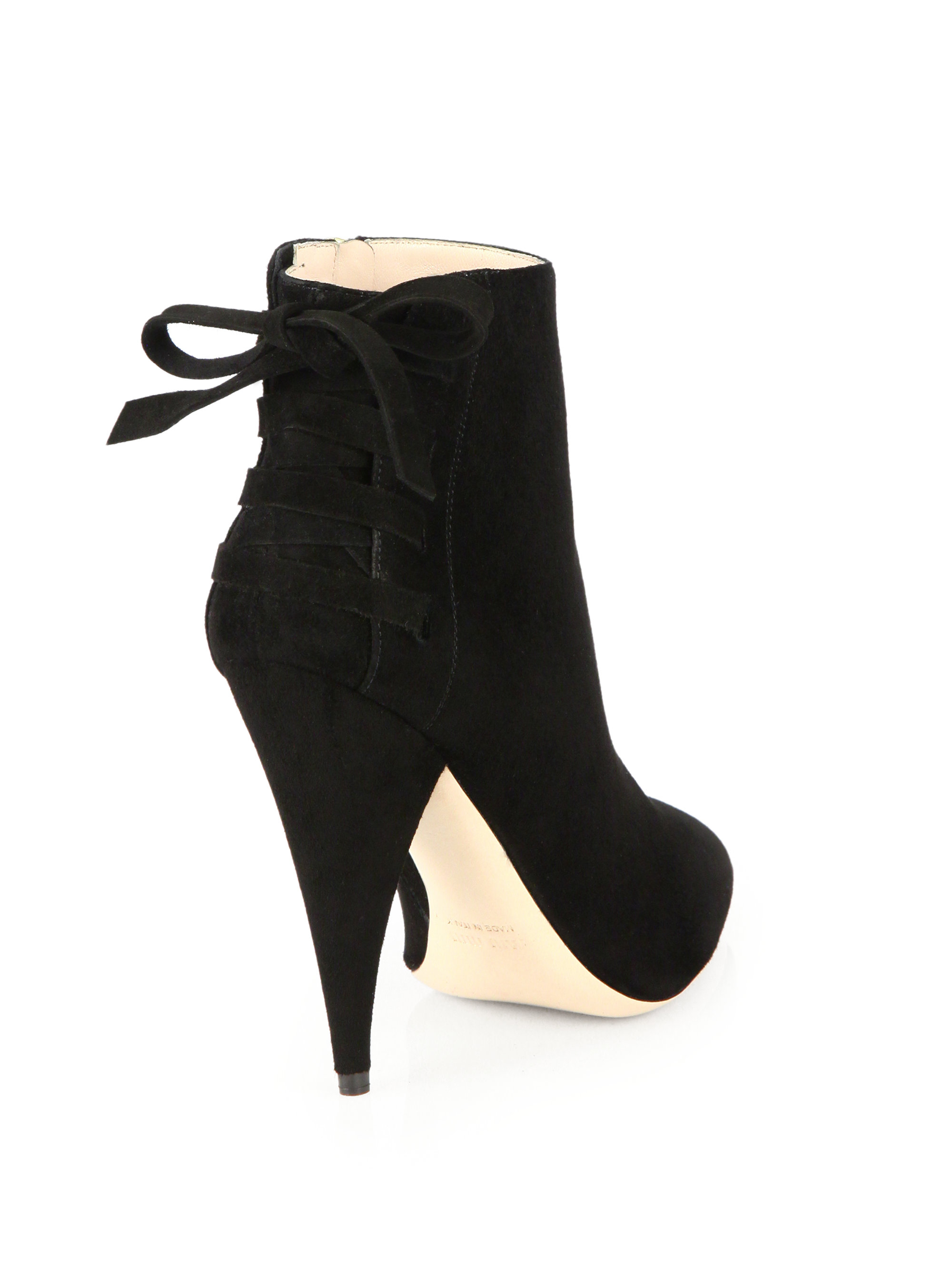 Miu miu Suede Back-Tie Ankle Boots in Black | Lyst