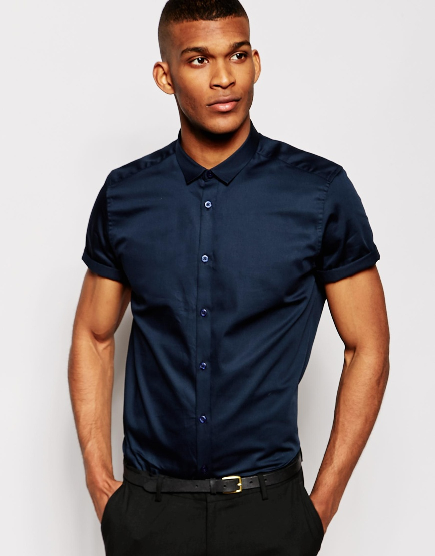 Lyst asos smart shirt in short sleeve with egyptian for Mens egyptian cotton dress shirts