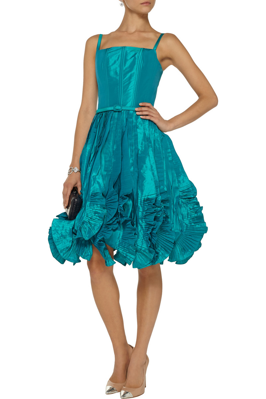 oscar de la renta ruffled silk satin mini dress in teal lyst. Black Bedroom Furniture Sets. Home Design Ideas