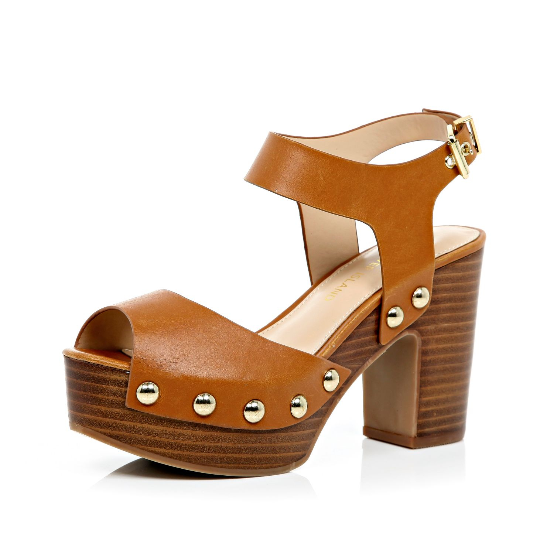 ae2c8a37ef River Island Light Brown Block Heel Clog Sandals in Brown - Lyst