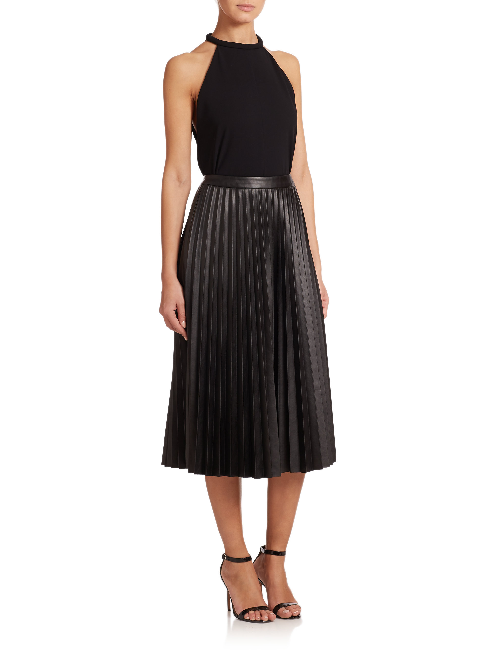 nicholas pleated faux leather midi skirt in black lyst
