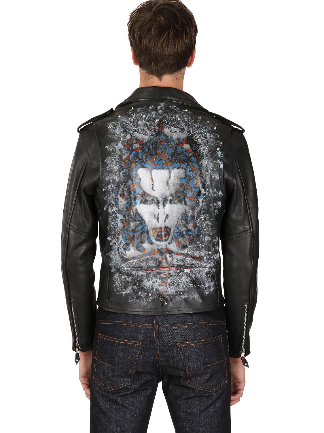 Lyst Kin And Gin Studded Hand Painted Leather Jacket In