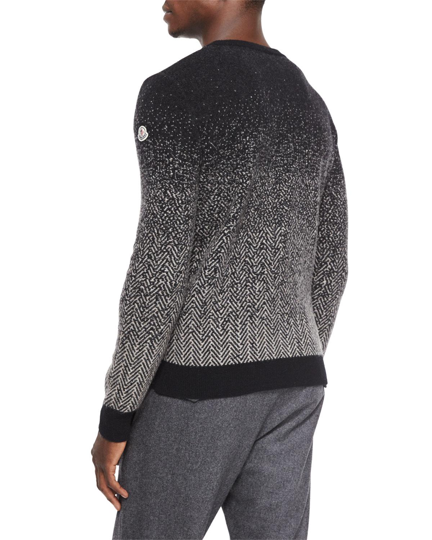 Moncler Herringbone Degrade Crewneck Sweater in Black for Men | Lyst
