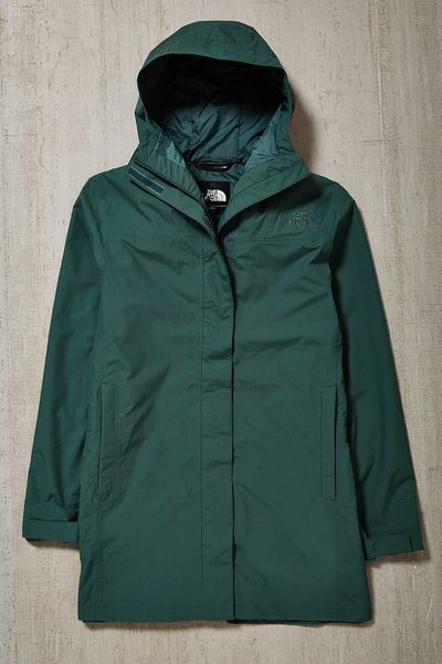 The North Face El Misti Hooded Long Parka Jacket In Green
