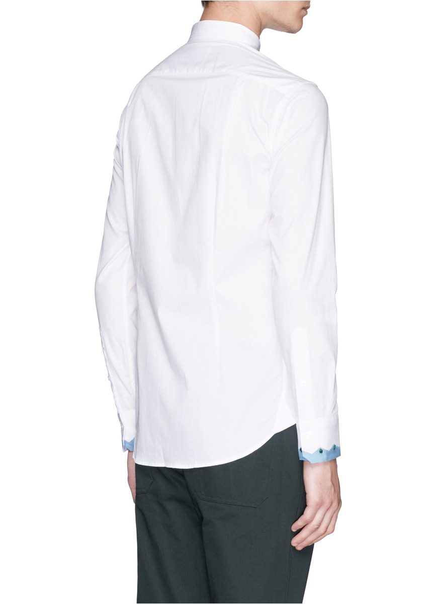 Lyst Kolor Embellished Contrast Cuff Shirt In White For Men