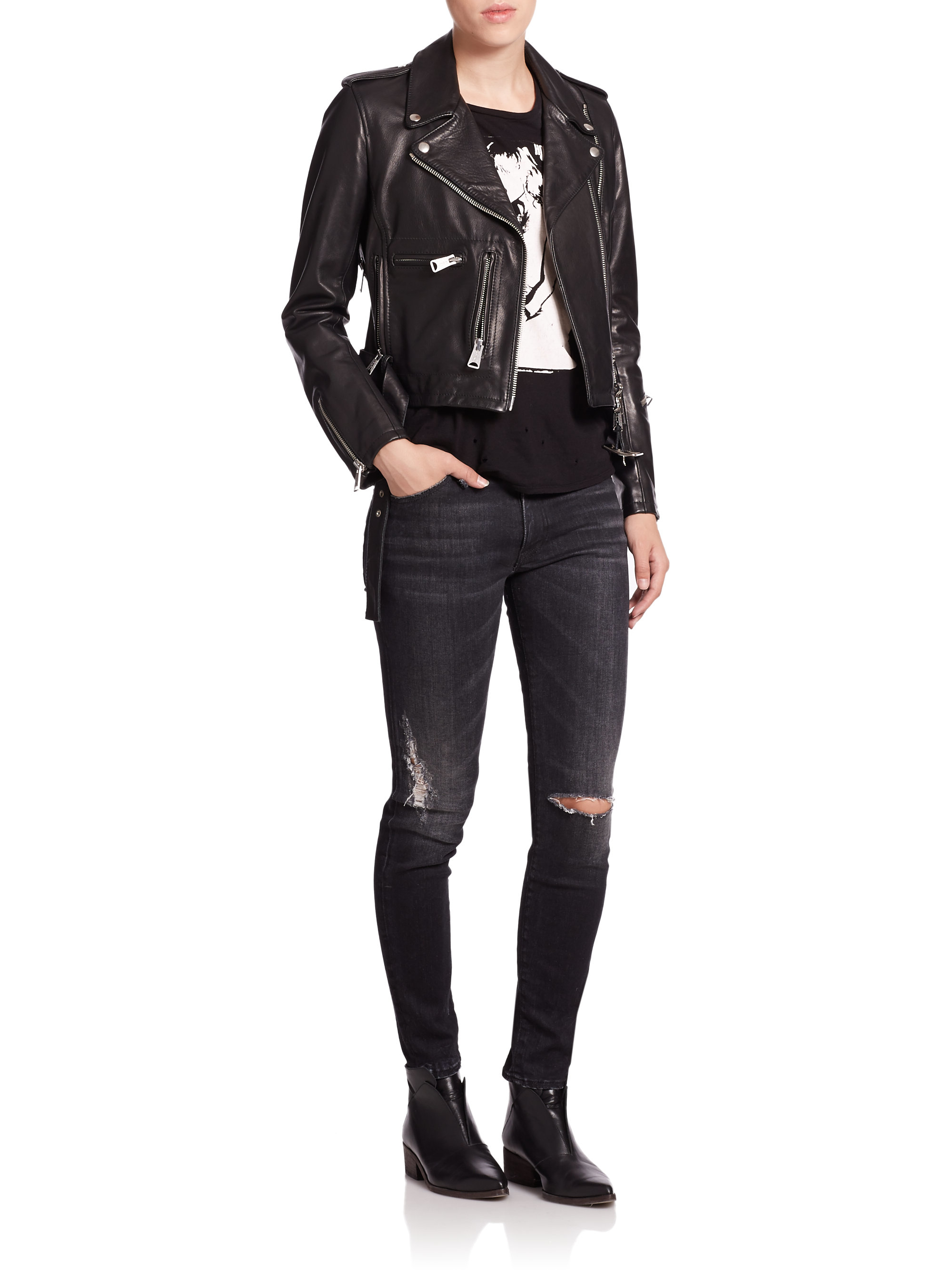R13 Cropped Classic Leather Moto Jacket In Black Lyst