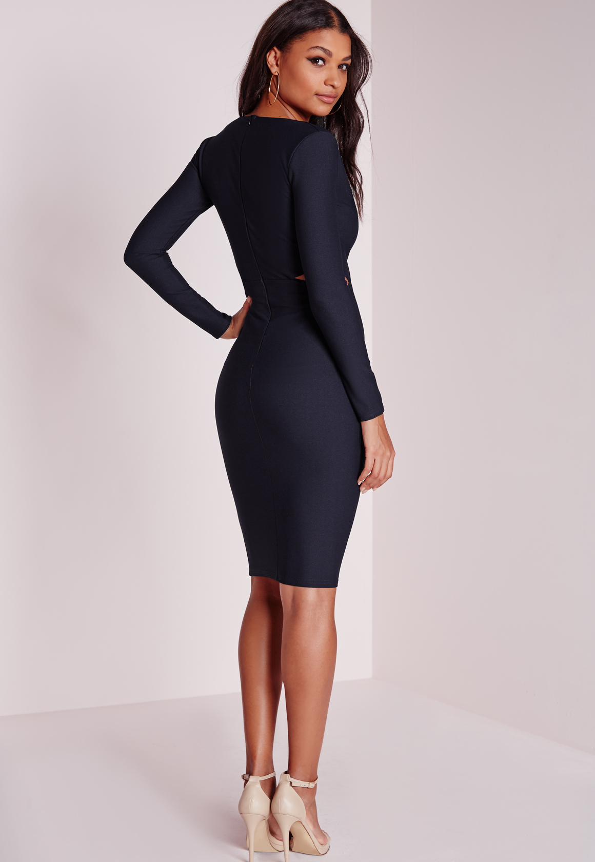 f20400daa6 Lyst - Missguided Cut Out Bodycon Dress Navy in Blue