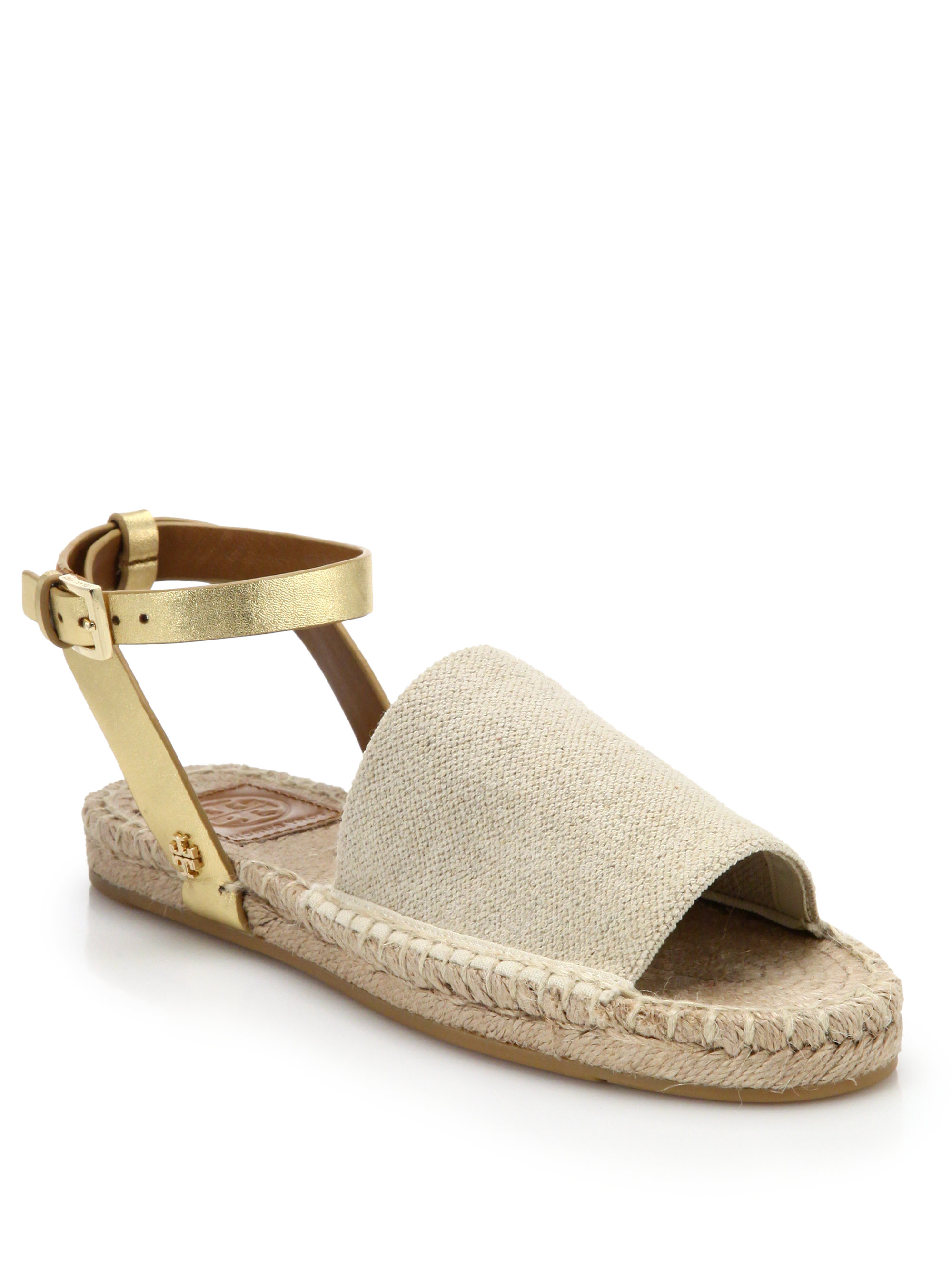 436aa872e Lyst - Tory Burch Metallic Leather   Woven Espadrille Sandals in Natural