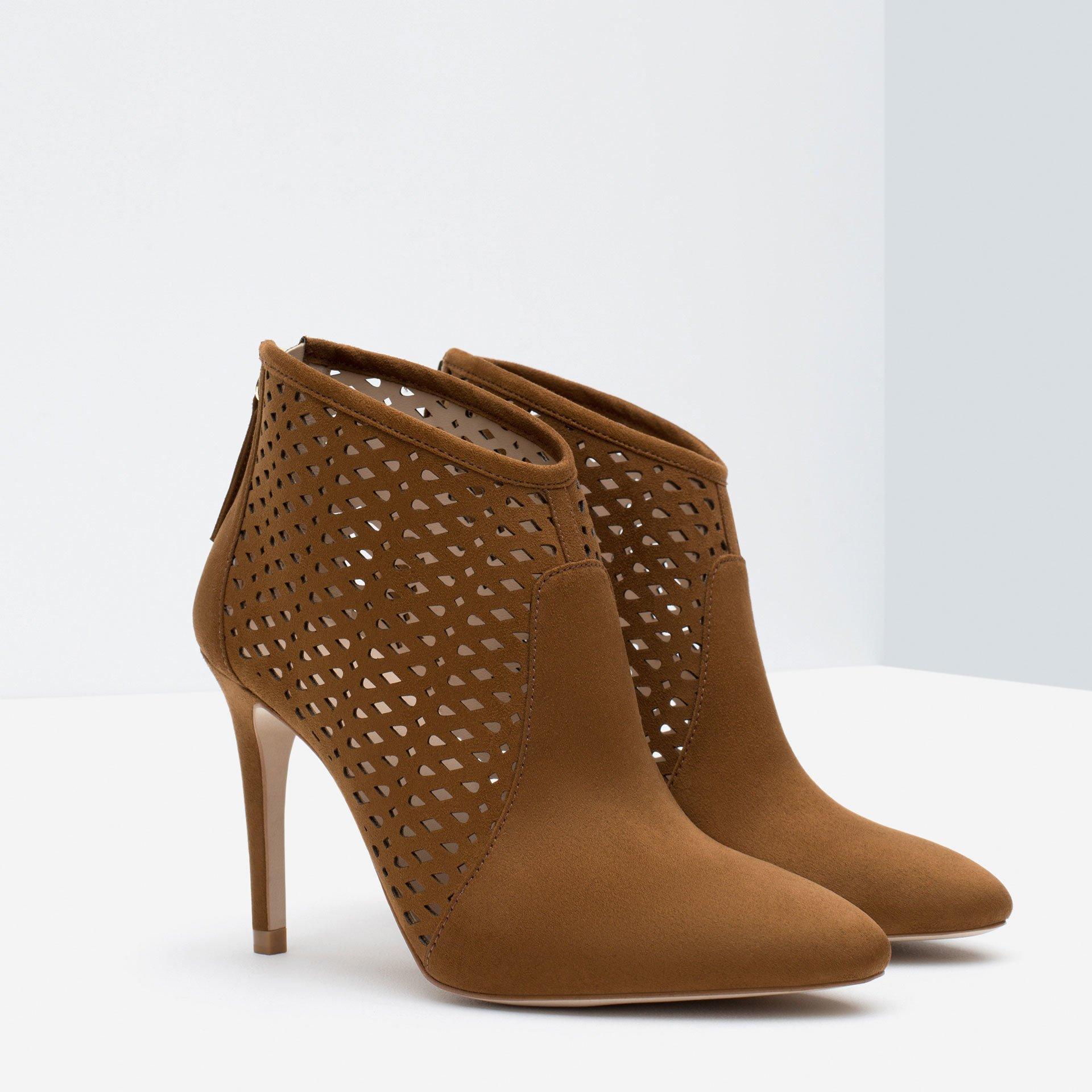 zara cut work high heel ankle boots in brown lyst