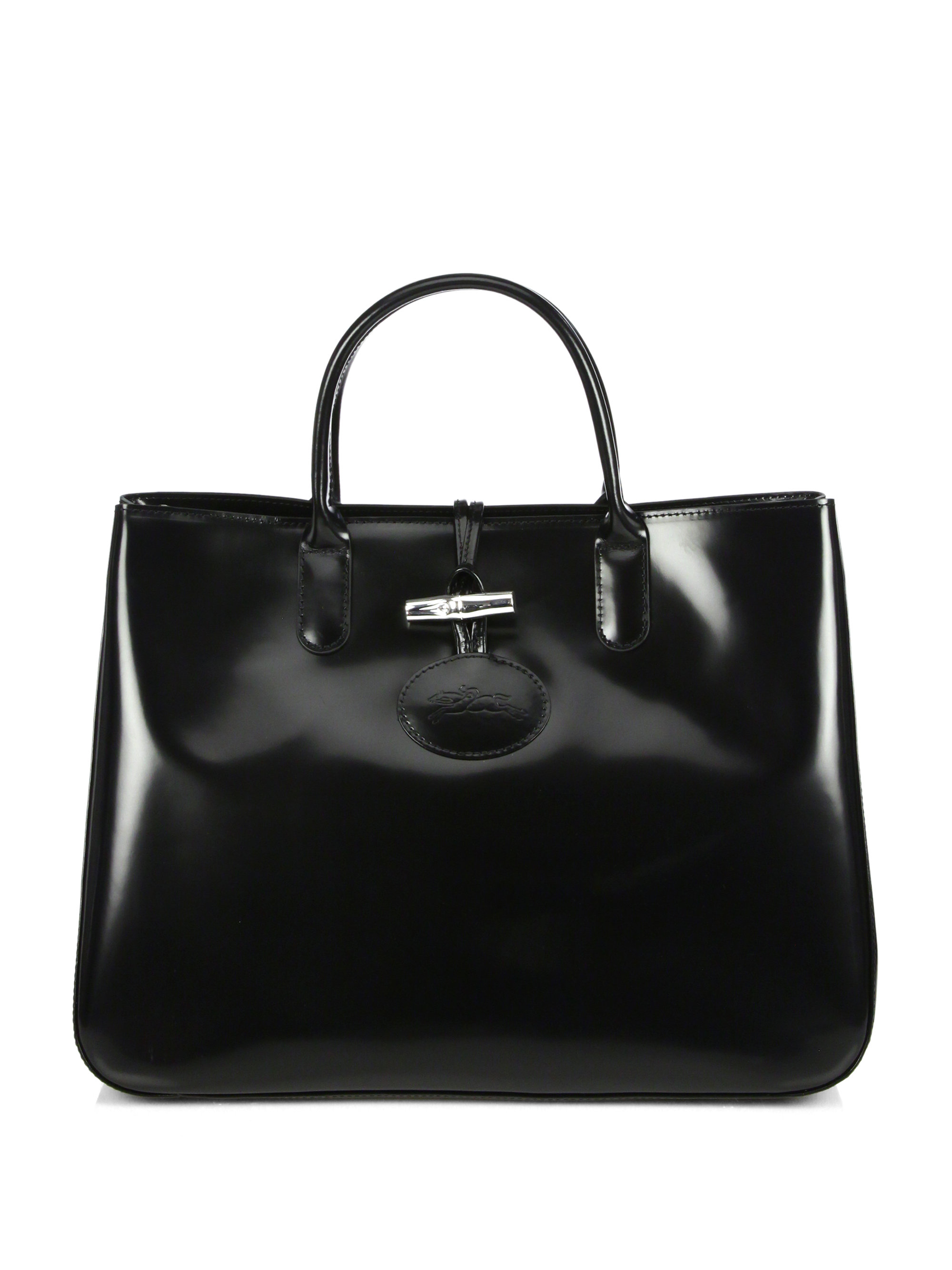 2a345b487787 Lyst - Longchamp Roseau Large Patent Leather Box Tote in Black