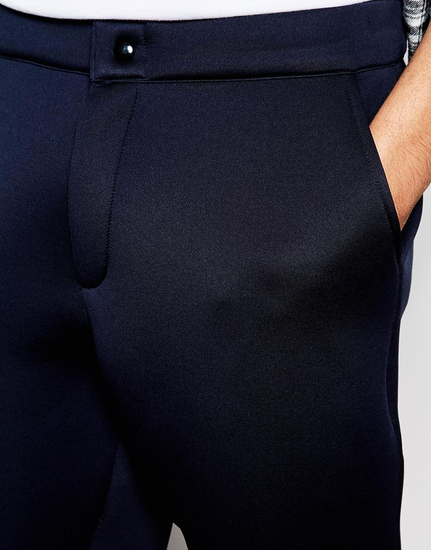 Asos Skinny Joggers In Scuba Fabric In Navy Blue For Men