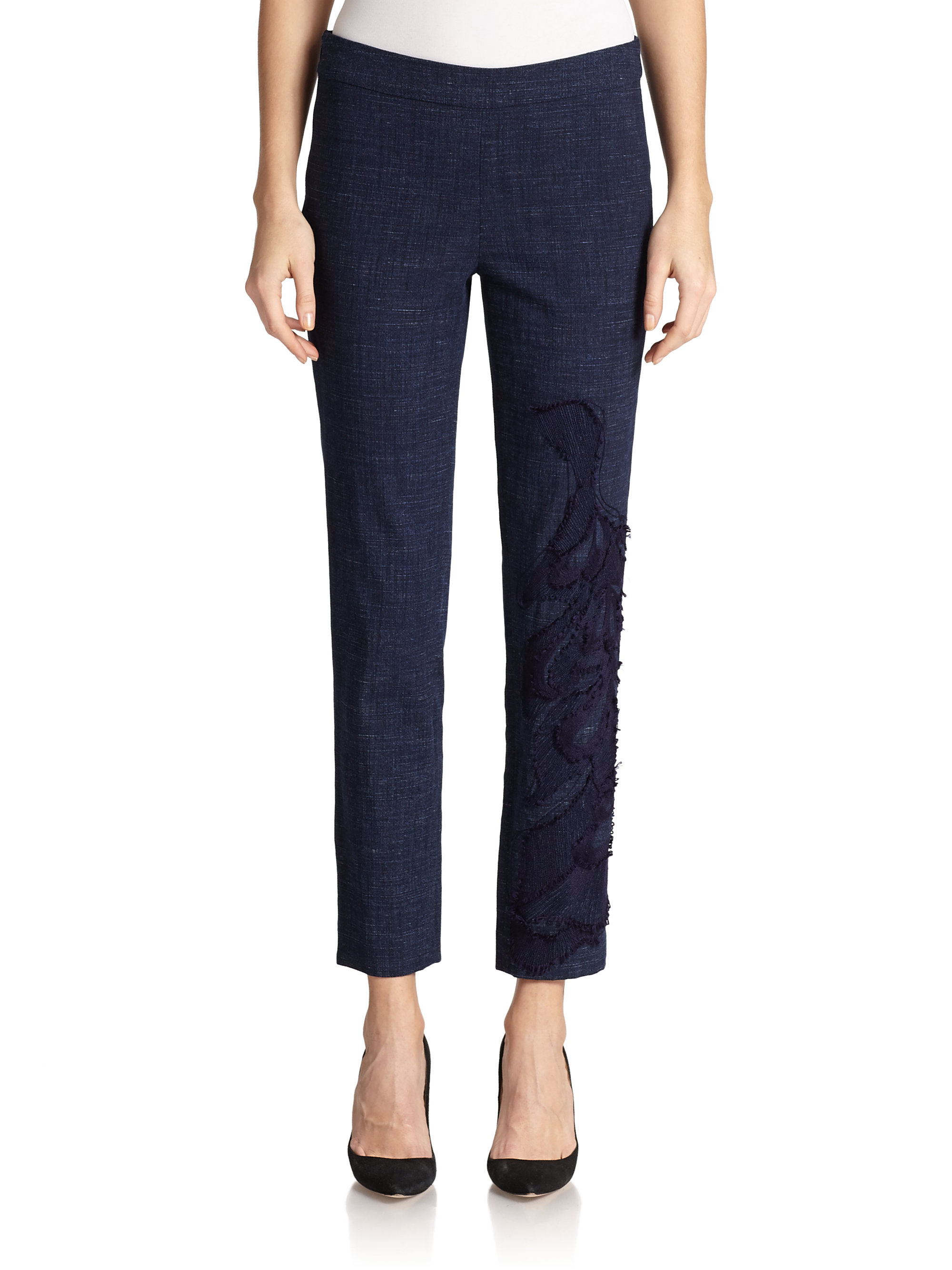 Lyst josie natori embroidered chambray pants in blue for Chambray jeans