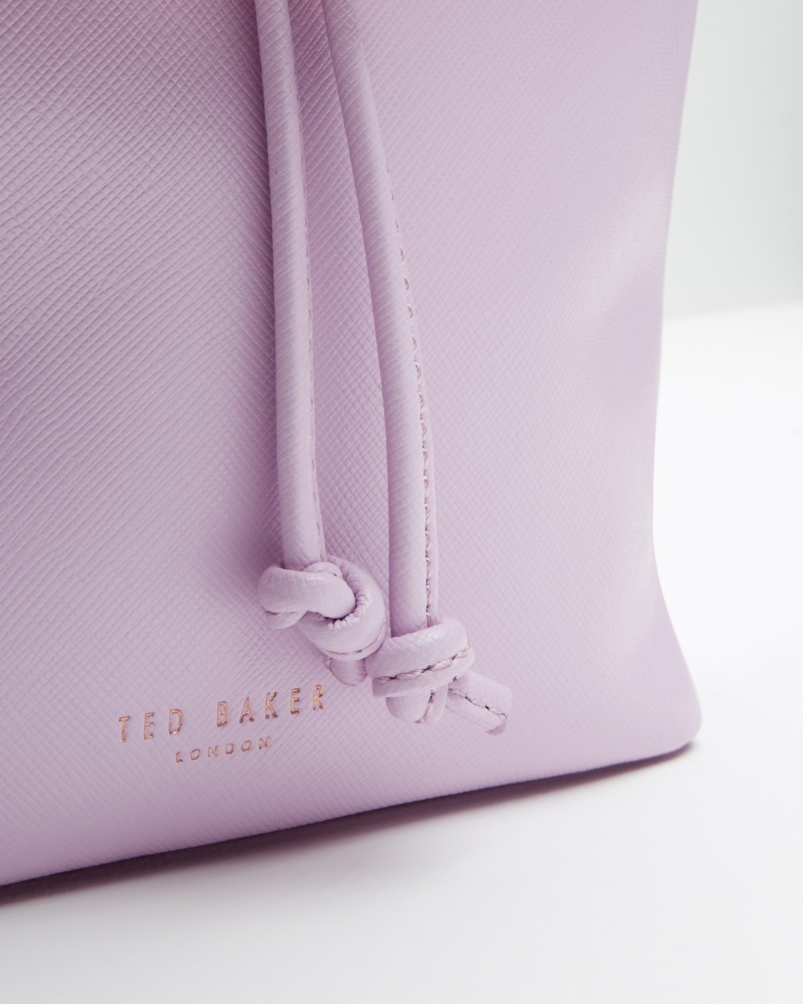 80bce23c34b6e9 Lyst - Ted Baker Crosshatch Leather Mini Bucket Bag in Purple