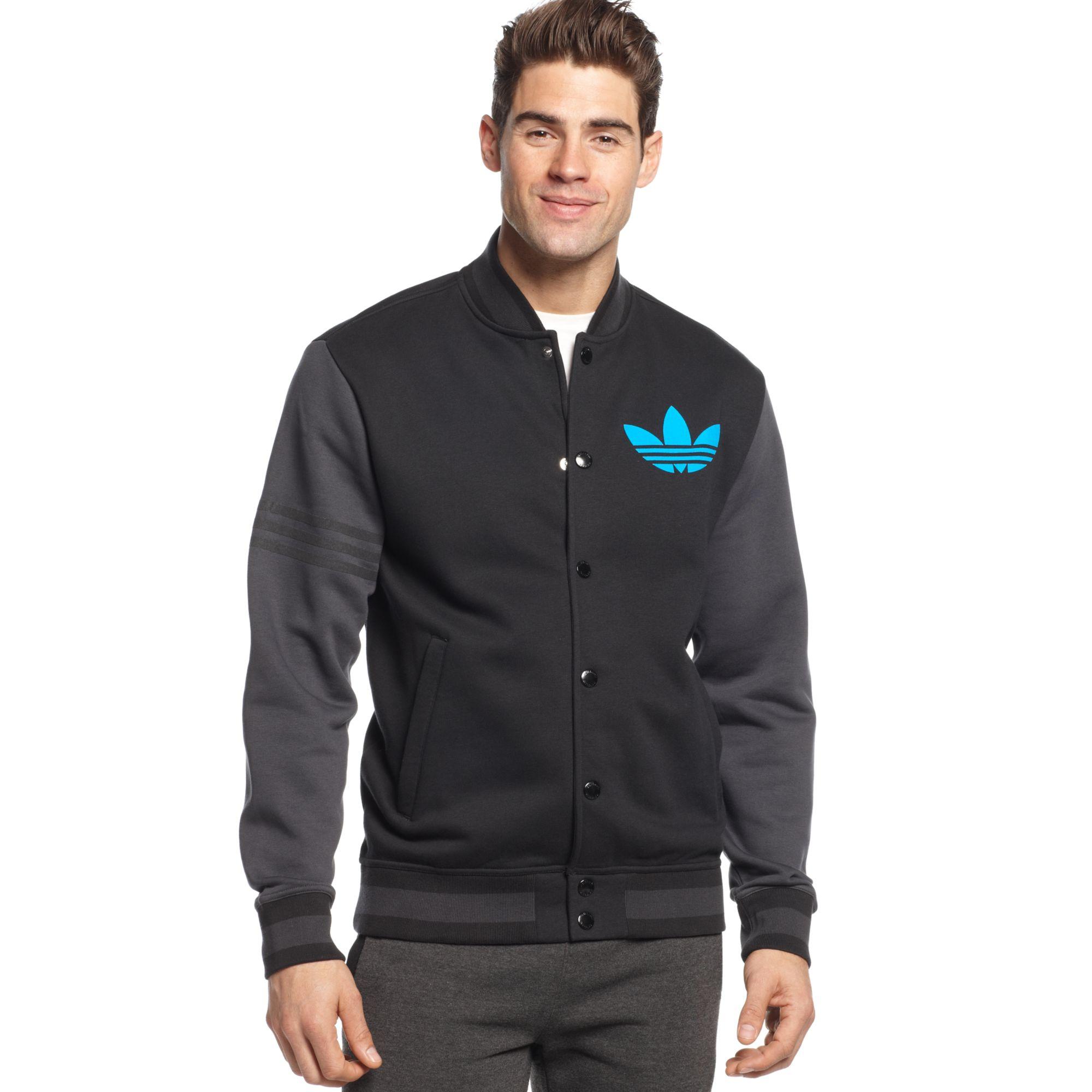 adidas originals varsity remix fleece jacket in blue for men lyst. Black Bedroom Furniture Sets. Home Design Ideas