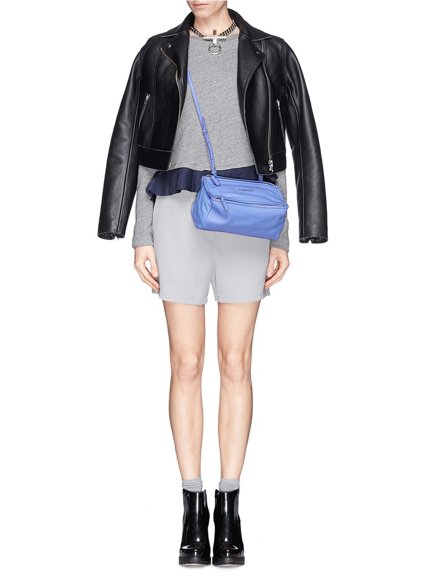 Lyst Givenchy Pandora Mini Leather Bag In Purple