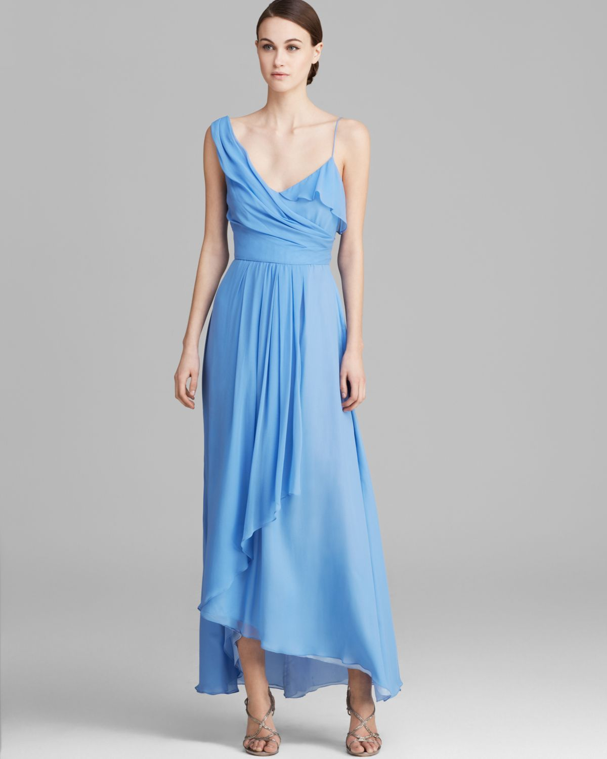 Lyst - Jill Jill Stuart Gown - One Shoulder Draped High/Low Chiffon ...