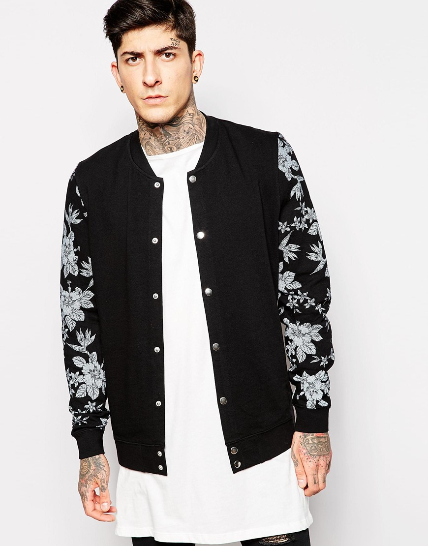 Asos Jersey Bomber Jacket With Snaps And Floral Print in Black for ...