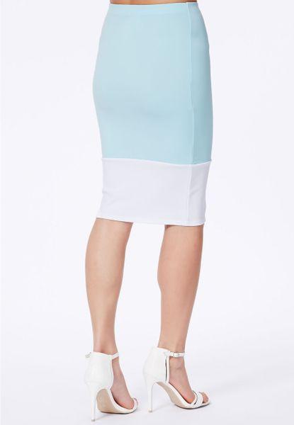 missguided froya baby blue scuba contrast panel midi skirt