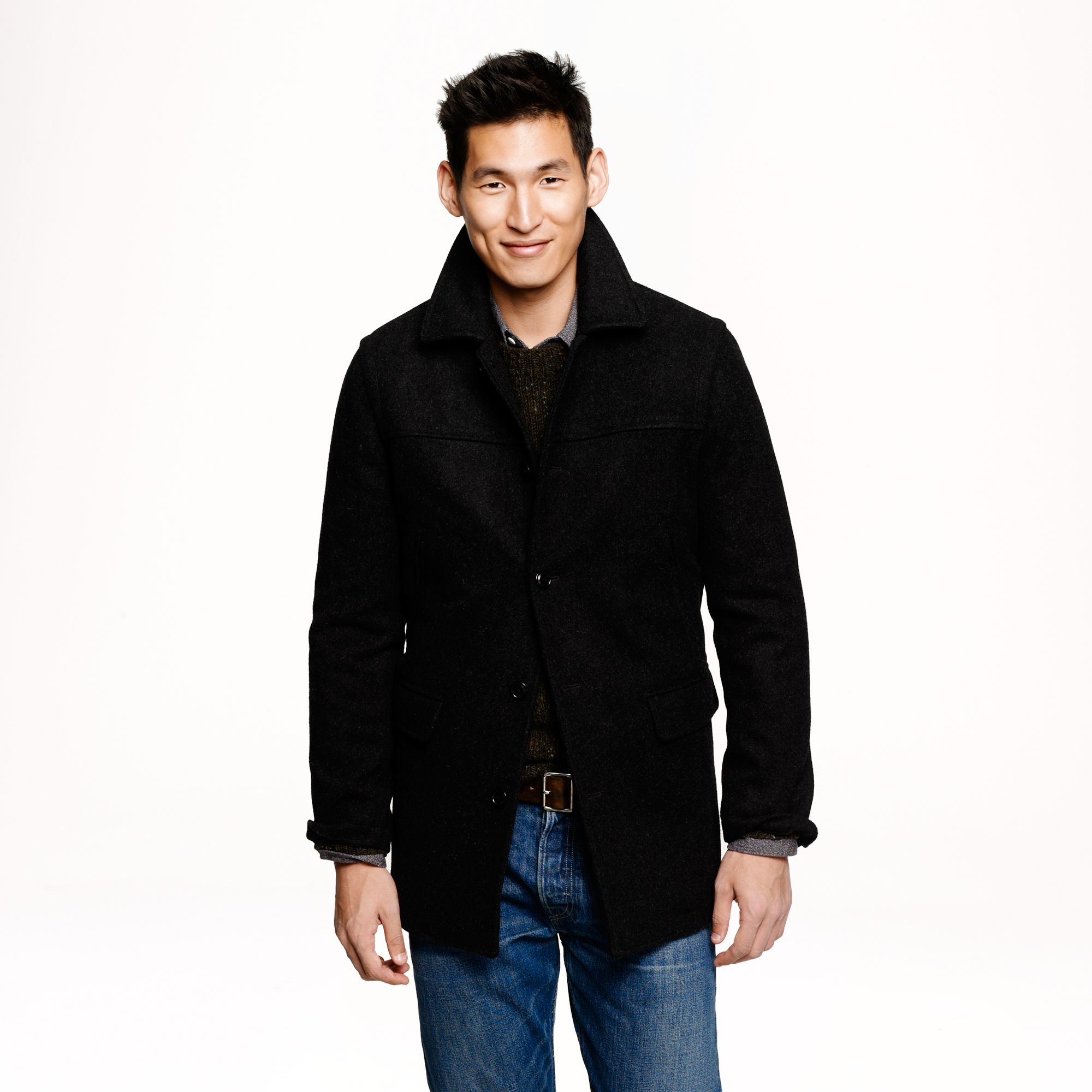 Slim university coat with thinsulate in black for for Jcrew com