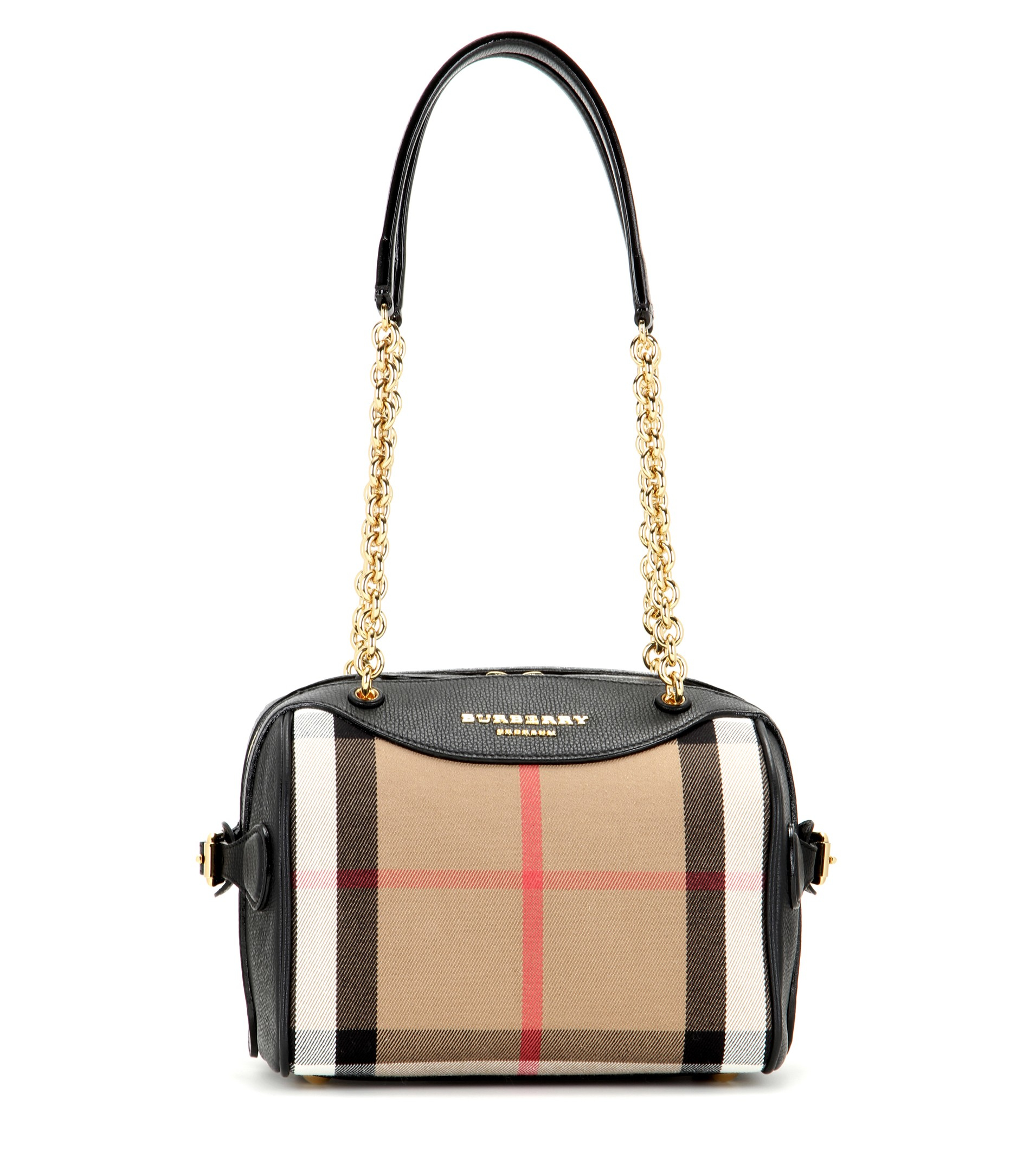 e9830d52f54e Lyst Burberry Prorsum The Alchester Check And Leather Bowling Bag