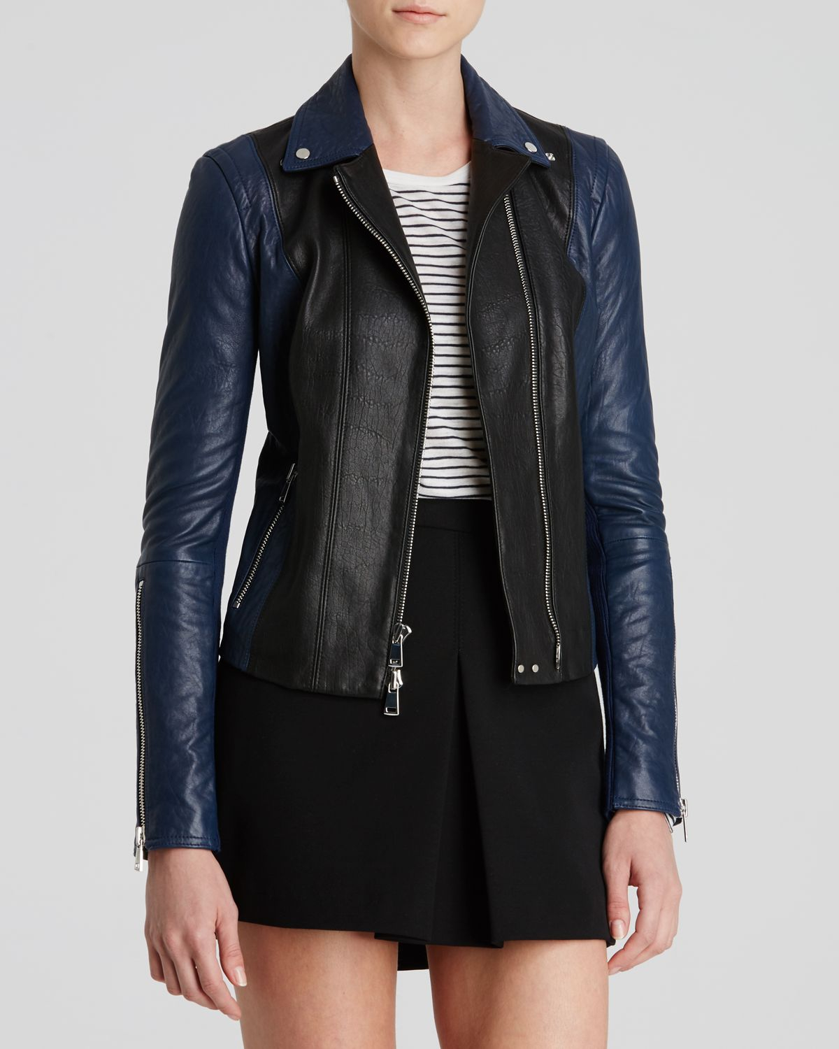 Black And Blue Leather Jacket | Outdoor Jacket