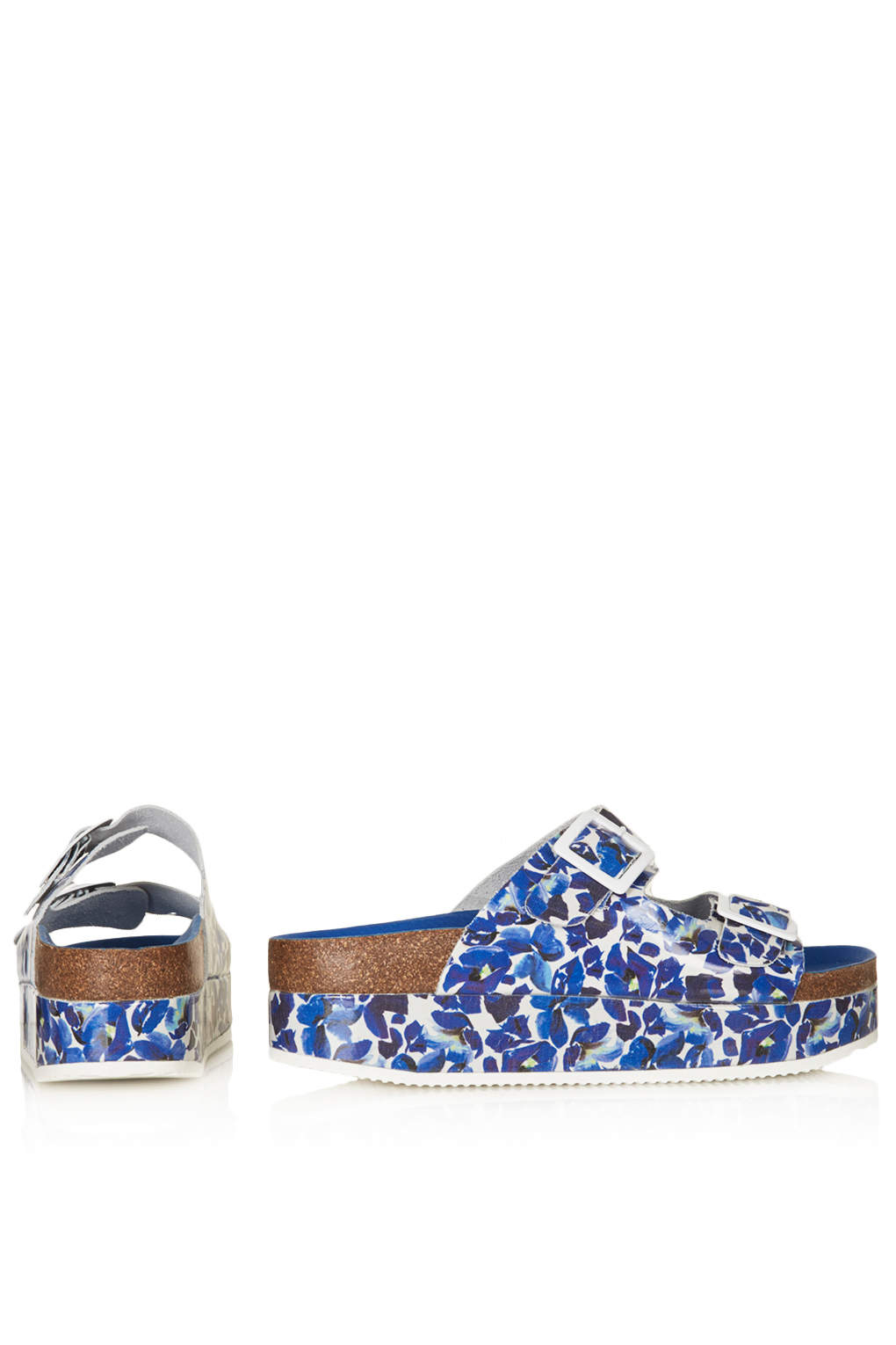 fc61fe9b608b Lyst - TOPSHOP Fang Double Buckle Flatform Sandals in Blue