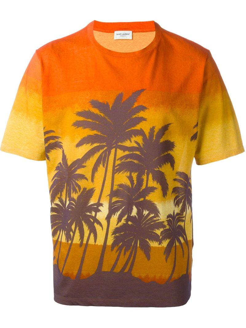 Lyst saint laurent hawaiian print t shirt in orange for men for T shirt printing hawaii