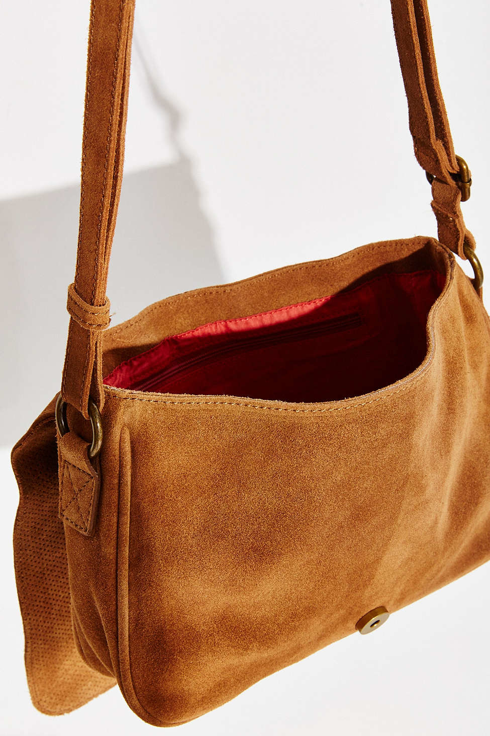 Ecote Perforated Suede Messenger Bag in Brown | Lyst