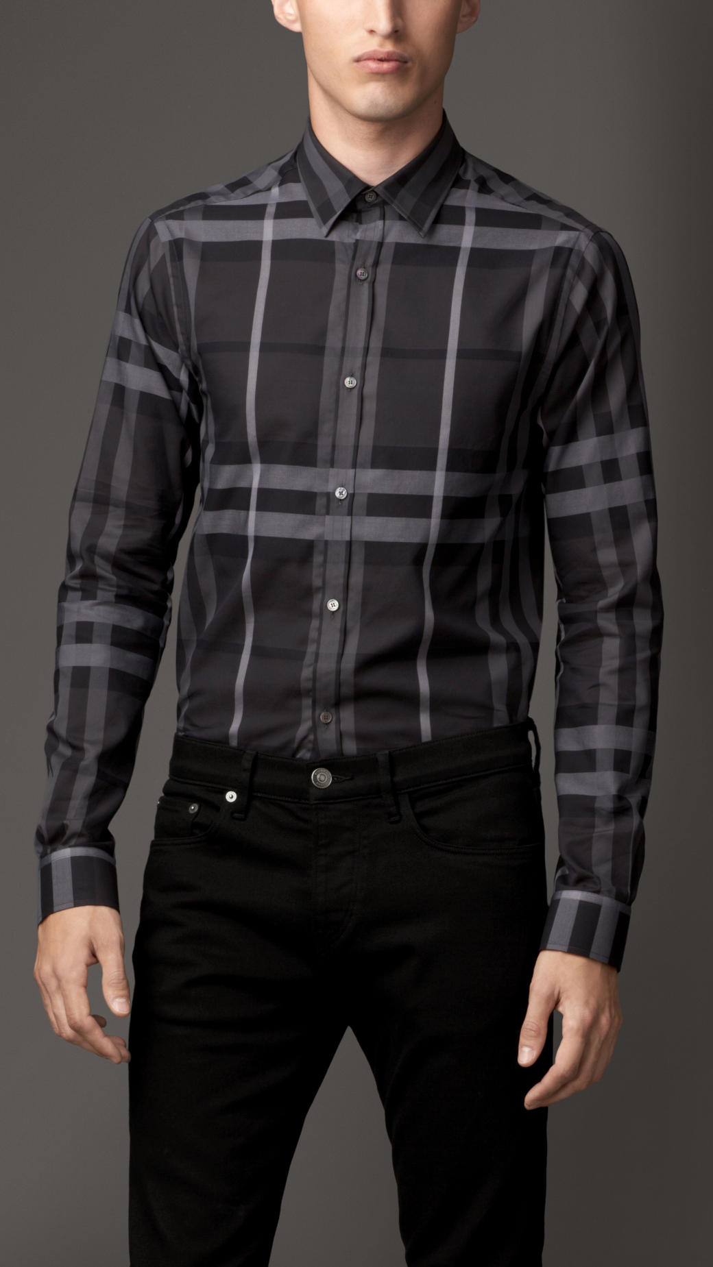 Lyst Burberry Modern Fit Check Cotton Shirt In Gray For Men