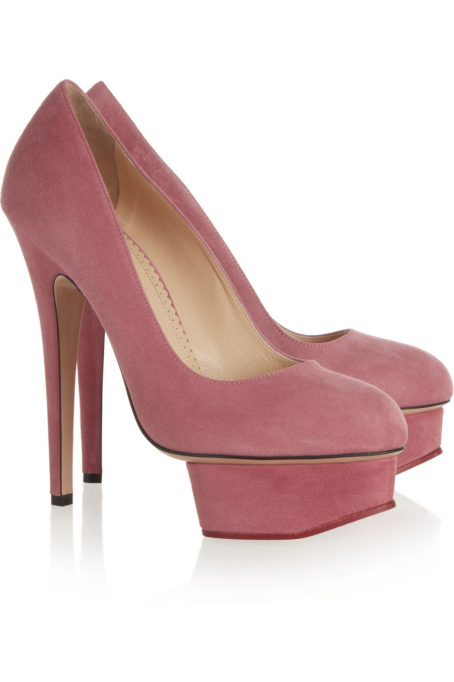 charlotte olympia eternally dolly embellished suede pumps in pink lyst. Black Bedroom Furniture Sets. Home Design Ideas
