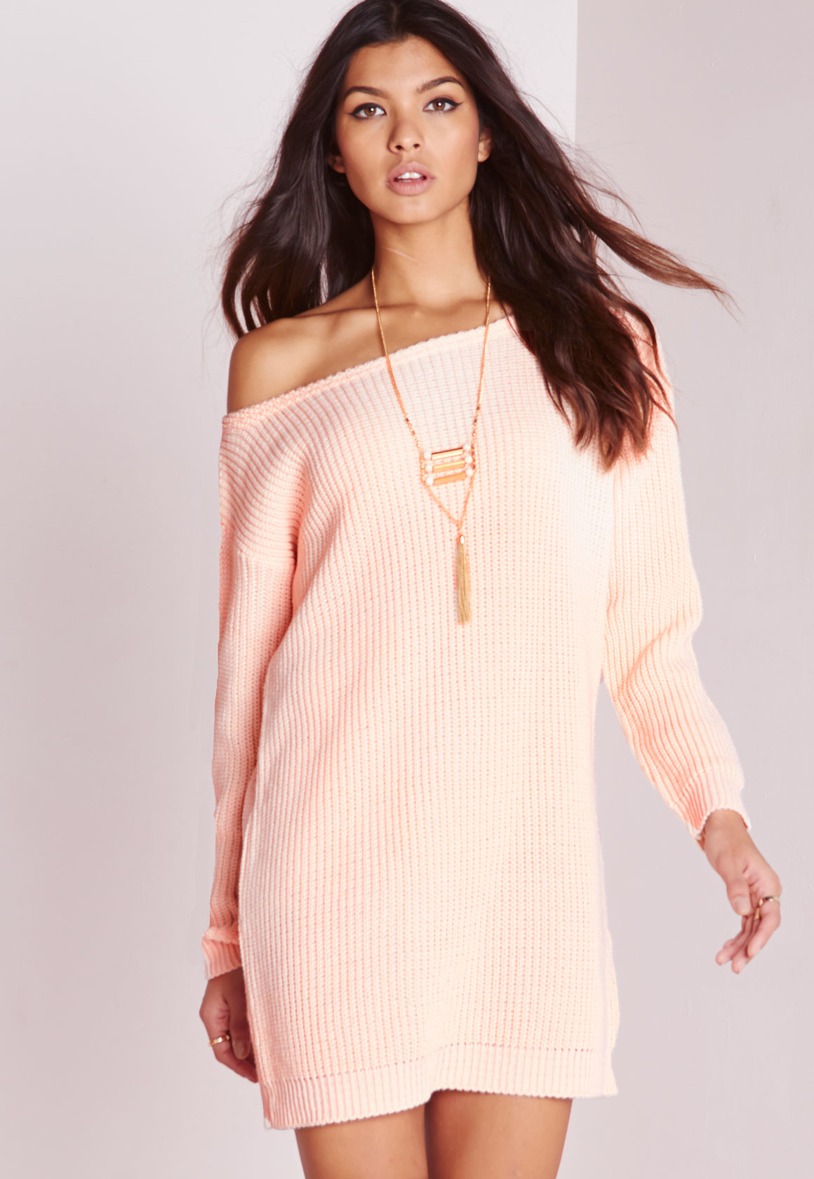 Missguided Off Shoulder Knitted Jumper Dress Pink in Pink | Lyst