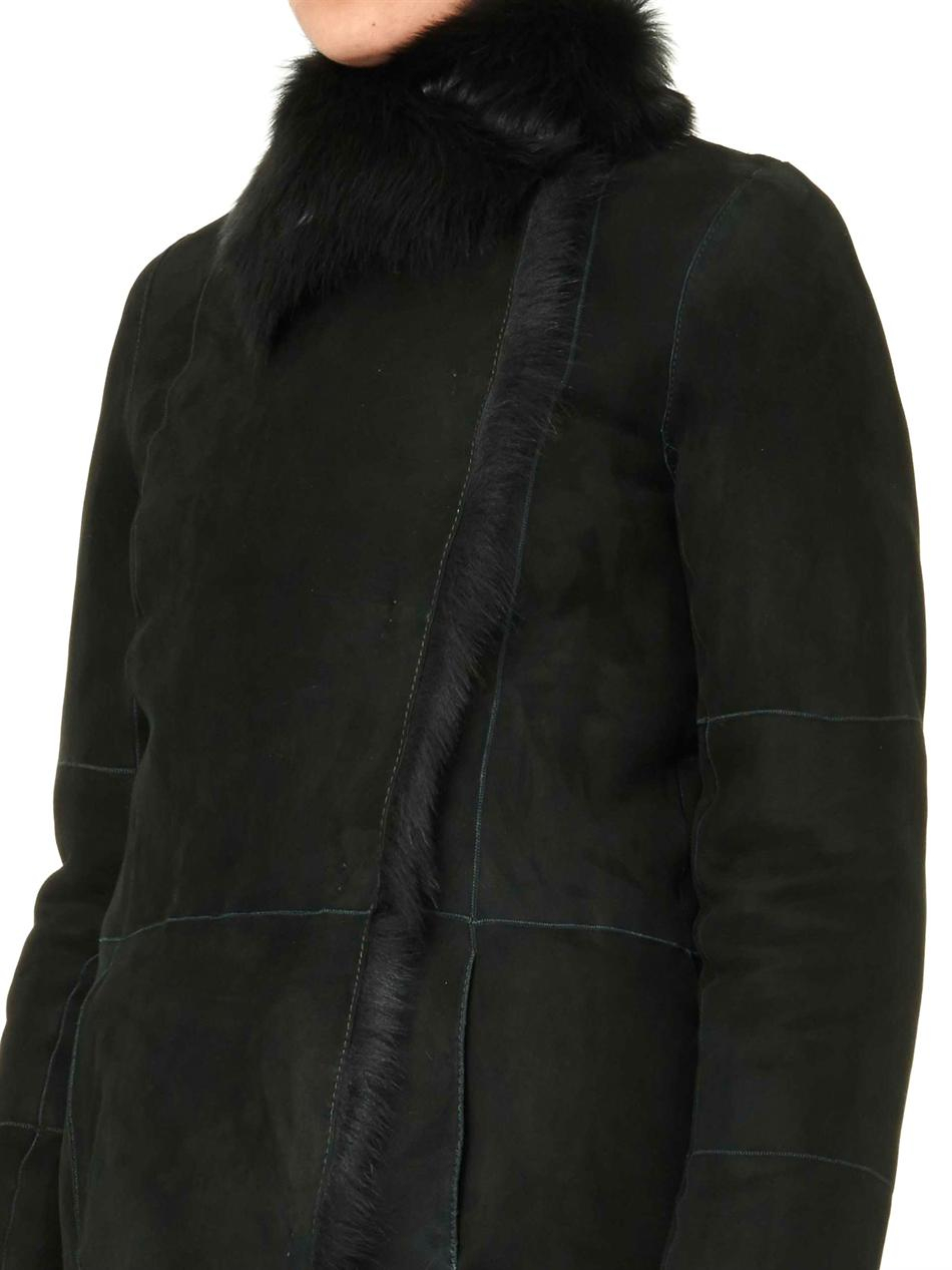 Joseph Anais Longlength Shearling Coat in Green | Lyst