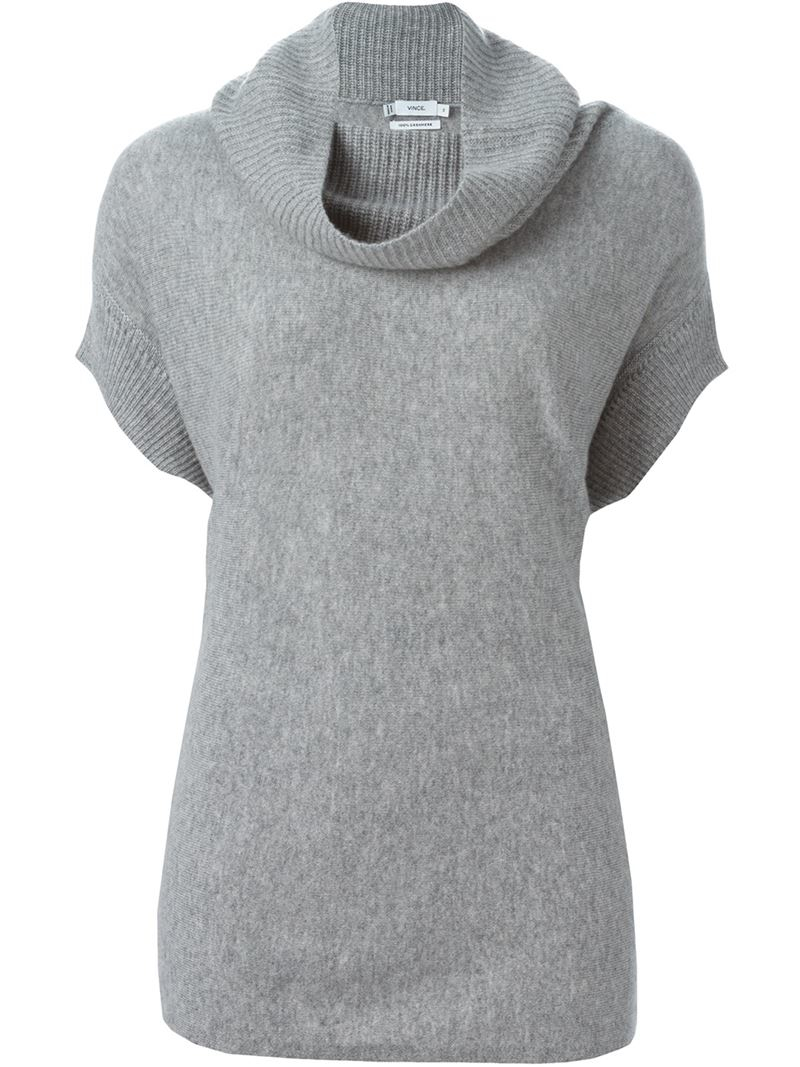 Vince Short Sleeve Sweater in Gray | Lyst