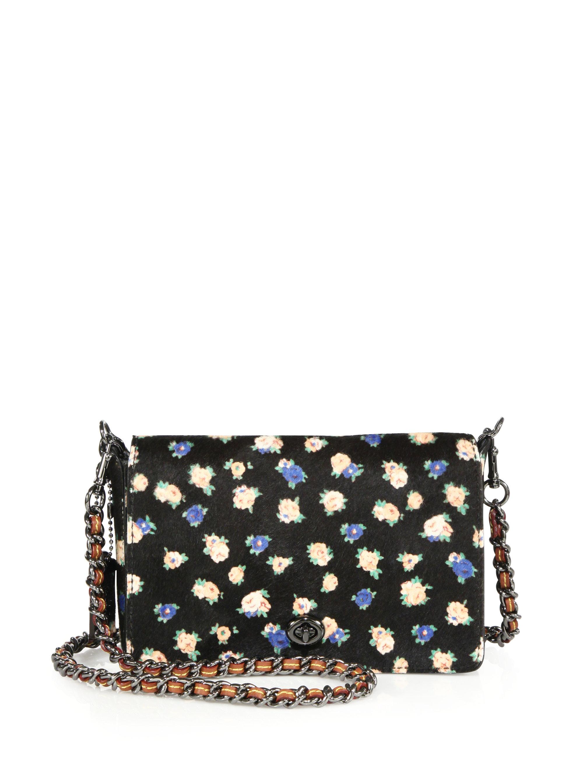 Lyst - COACH Dinky 24 Floral-print Calf Hair Crossbody Bag in Black 426ad74d0fcea