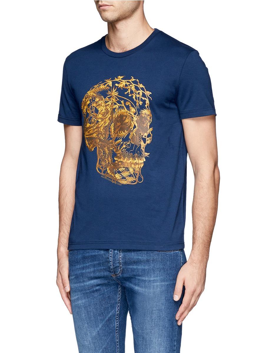 Alexander mcqueen floral skull print t shirt in blue for for Alexander mcqueen shirt men