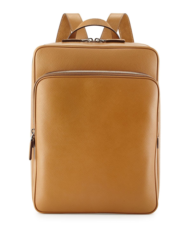 Prada Saffiano Cuir Slim Backpack in Brown for Men (CARAMEL)   Lyst