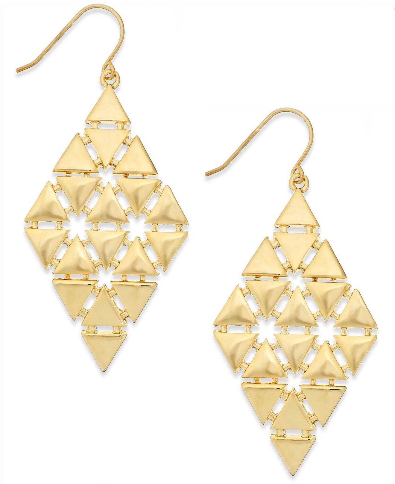 Lyst lauren by ralph lauren gold tone triangle chandelier earrings gallery aloadofball Image collections